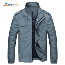 Covrlge Jacket Spring Mens Jackets and Coats 2017 New Solid Men's Windbreaker Fashion Stand Collar Coat Brand Clothing MWJ028