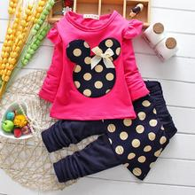 2016 Spring Hot Baby girls clothing Set suits cartoon tops tees+polka dot skirt pants Legging jacket children clothes twinsets