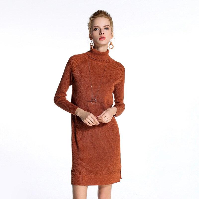 Elegant fashion elastic women knitted dress spring long sleeve round collar pure color loose comfortable ladies dresses HM1121Îäåæäà è àêñåññóàðû<br><br>