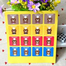 500sheets (8000pcs) Cook Bear square seal stickers decorative DIY gift stickers cookie sealing label.