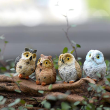 Super Cute Moss Micro Landscape Plants Gift Ideas Resin Gel Foot Owl Decorations Doll Ornaments Cute Little Owl Random Color