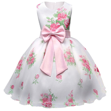 2017 Summer Floral Print Baby Girl Satin Dress Princess Tutu Dress Birthday Party Dress For Girl Kids Party Clothing Size 8Yrs