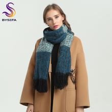 [BYSIFA] Winter Women Men Woolen Scarves Pashmina Thicken New Stylish Simplicity Brand Long Large Blue Plaid Scarves Knitted(China)