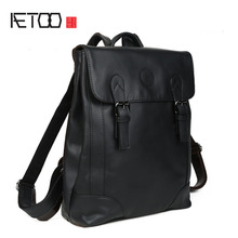 AETOO New oil leather backpack Korean fashion men and women general leather shoulder bag large capacity travel bag