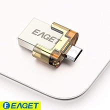 EAGET V8 32GB Metal OTG USB Flash Drive Pendrives USB Stick 32 GB USB2.0 OTG Pen Drive Encryption for Android Smartphone Tablet