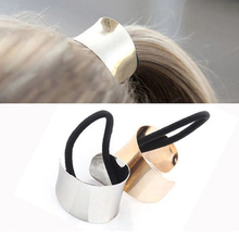Modern Fashionable Metal Circle HairBand Tie Elastic Hair Bands Ponytail Holder Hair Accessories headband