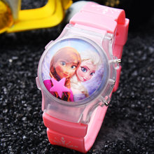 Hot Sale 1PC Retail Girls Children Waterball LED Flashing Light Watches Elsa Anna Cartoon Character Kids Digital Wristwatches(China)