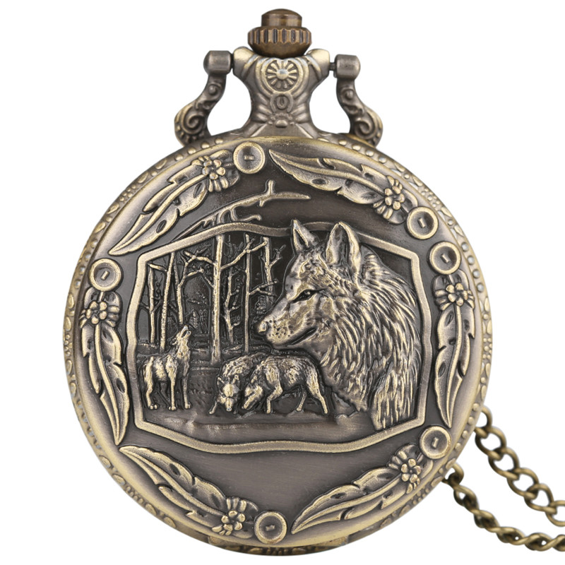 Cool Wolf Pocket Watch Pendant Mens Boys Children Necklace Vintage Quartz Analog Clock Wolves Tribe Fob Clock Gifts Collection (1)