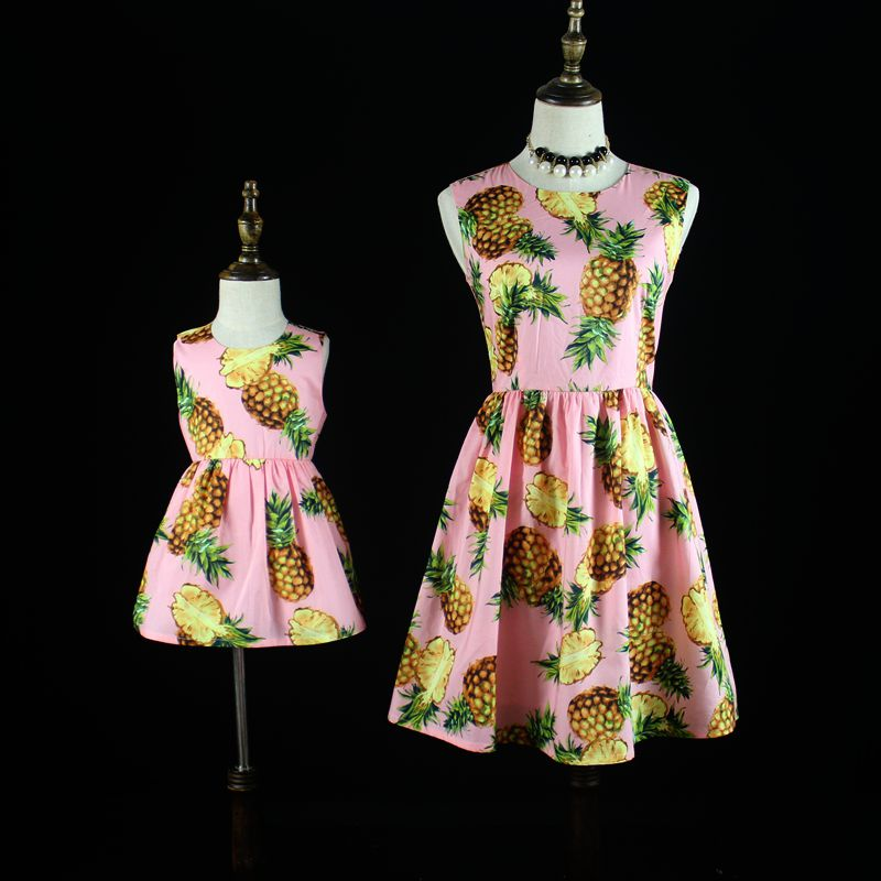 Mother Daughter Dresses Girls fashion casual dress Family Look Matching Clothes 2017 Summer Women cotton Dress Mom and Daughter<br>