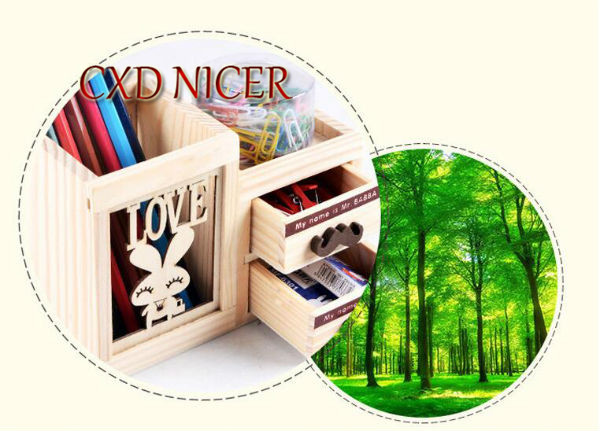 Fashion Tower Beard Desktop Hollow Wooden Pen Holder Office Stationary Supplies Accessories Double Drawer Pencil Holder Dd252 3