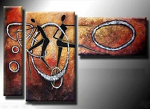 3 Panel Pictures Hand Painted Oil Painting Modern Abstract Dancers Figure Paintings Graffiti Circle Canvas Wall Art Home Decor
