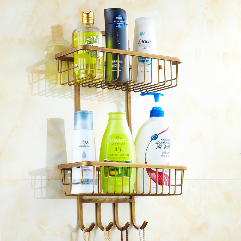 Dual Tier Brass square bathroom shelves basket vintage, European Antique storage rack shelf net with hooks wall mounted<br>
