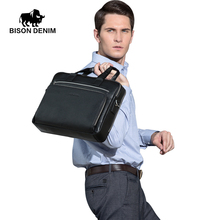 "BISON DENIM Genuine leather Briefcases 15"" Laptop Handbag Men's Business Crossbody Bag Messenger/Shoulder Bags for Men N2333"