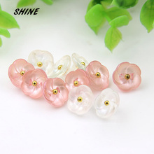 30pcs Sewing Buttons Scrapbooking Flower White & Pink Shank For Kid Costura Botones Decorate bottoni botoes 11.5mm(China)