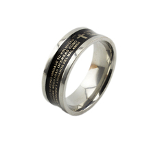 Classical design religious jewelry Black stainless steel Christian rings Spanish Bible scriptures cross engraved couple rings