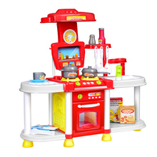 Bargain Price Kitchen Toy Set Kids Simulation Kitchen Toys Baby Kitchen Toys Set With Light & Sound Red Baby Pretend Play Gifts(China)