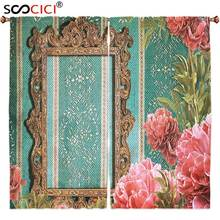 Window Curtains Treatments 2 Panels,Vintage Old Frame with Ornaments and Roses Antique Theme Retro Nostalgic Artwork Seafoam(China)