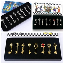 8pcs/set Game Kingdom Hearts Keyblade Three Type Sora Cosplay Weapons Necklace Metal Figure Toy Pendants