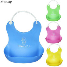 Niosung New 4 colours Baby Infants Kids Cute Silicone Bibs Baby Lunch Bibs Cute Waterproof baby saliva towel Lunch Bibs aprons