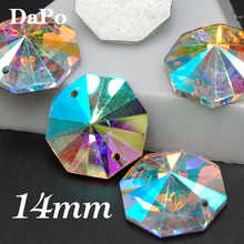 150pcs/box 14mm Round Octagon Sew On Rhinestone Crystal AB Color Sewing Glass Crystal Stone For clothing accessories SF0345