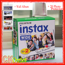 20 Sheets Fujifilm Instax Wide White Film + Free 1 Wall Album & 20 Photo Protector For Polaroid Instax Camera 300 200 210 100