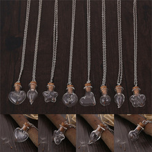 (12pcs) Blow Transparent Steampunk Bottle Necklace Magic Fire Fairy Pendant Dandelion Charm Bottle with Chain Necklace