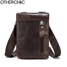 OTHERCHIC Genuine Leather Small Bags Men Leather Belt Waist Pack Messenger Bags Phone Pouch Fanny Pack Crossbody Bag L-7N07-41