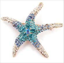 New style five - pointed star alloy starfish models full of drill brooch wild diamond corsage men and women clothing accessories