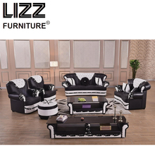 Corner Sofas Living Room Sets Modern Leather Sectional Sofa Group With Side Table+Coffee Table+TV Cabinet+Ottoman Chesterfield(China)