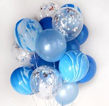 "Confetti Balloons Bouquet (Thickened 12"" 20pcs) Baby Shower Birthday Wedding Party Decoration Photobooth (Blue)(China)"