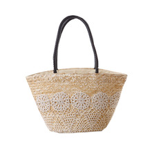 Bohemia women bag large causal travel shopping bag Wheat straw Country style totes Crochet lace hollow out design beach bags