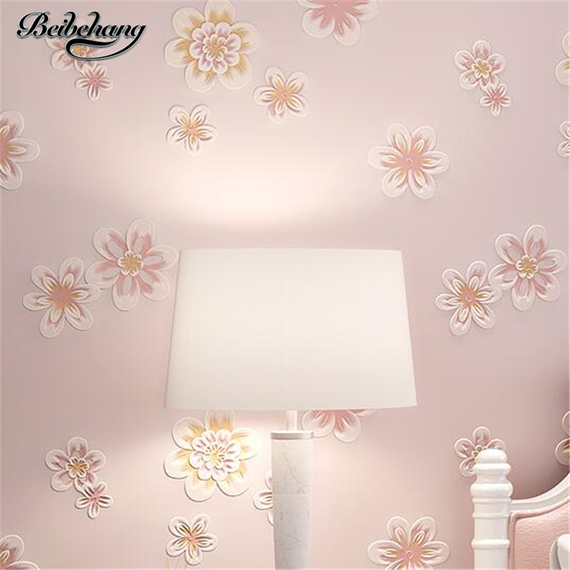 beibehang Green nonwovens wallpaper 3D pastoral style wallpaper warm bedroom small floral wallpaper living room papel de parede<br>