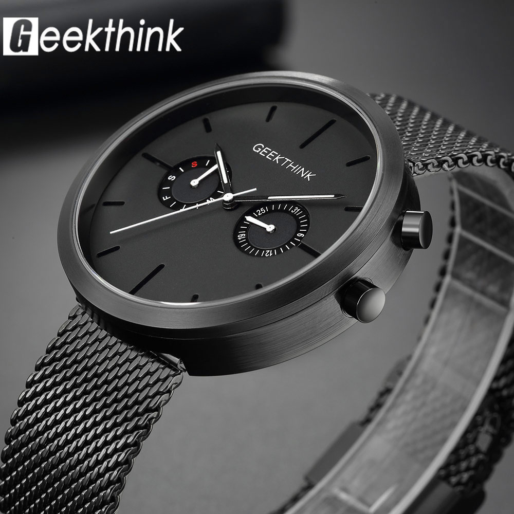 GEEKTHINK Luxury Top Brand Quartz Watches Mens Full stainless steel Black Wrist Watch Casual Relogio Masculino Modern Homme New<br>