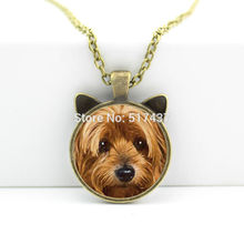 2017 New hot New Dog Pendant Necklace Dog Ear Pendant Dog Face Jewelry Gifts For Girl Glass Photo Necklace CN-0044
