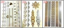 3 design set  Gold Temporary Tattoo hair tattoo Jewelry Flash Body art make up necklace  Flash tattoo fake tattoo for girl boy