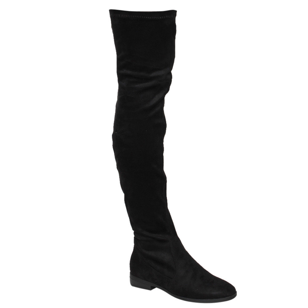 FM32 Womens Stretchy Snug Fit Over Knee High Pull On Block Low Heel Boot<br>