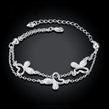 Butterfly charm bracelet Latest Women Classy Design silver plated bracelet link chain bangle Factory Direct Sale H409(China)