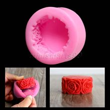 Nicole Rose Flowers Round Silicone Mold Forms for Soap DIY Crafts Mould Candle Molds Stampi In Silicone Cake Tools(China)