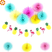Colorful Paper Flowers Pom Poms Hollow Paper Fan Flamingo&Pineapple Banner Garlands Summer Pool Hawaiian Party Flamingle Decor(China)