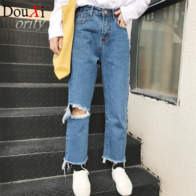 Spring Fashion Womens jeans knee-breaking section  Straight Loose High Waist  jeans WomenОдежда и ак�е��уары<br><br><br>Aliexpress