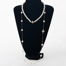 Double simulated pearl women necklace rhinestones four leaf clovers gold color zinc alloy long chain female necklace MDJB250