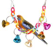 Bird Toys Bell Acrylic Pet Bird Chew Ringer Hanging Swing Cage Cockatiel Parrot Toy Colorful Entertaining Toy Drawbridge