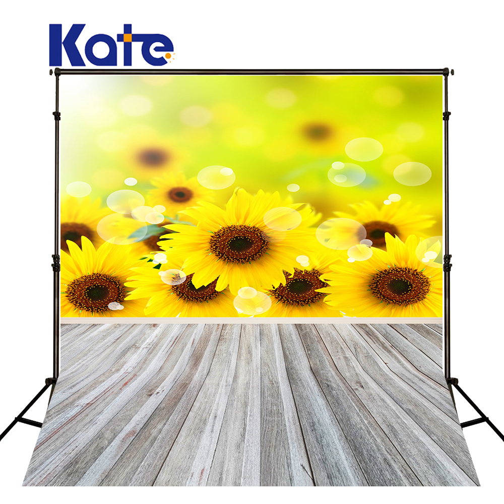 Kate 200X300CM Floral Princess Sunflower Wall Backdrop Wooden Floor Backgorund Newborn Washable Photo-shoot-background<br>