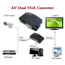 High Resolution Digital AV / S video to VGA TV Signal Converter Adapter S-video to VGA Switch Conversion for PC Notebook(China)