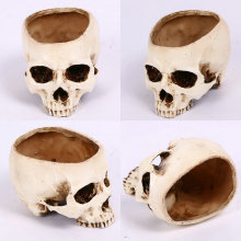 Artificial Human Skull Head Design Flower Pot Planter Container Replica DIY Home Bar Decorations Creative Gifts Presents