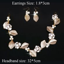 1PC/Set  Wedding Bride Headwear Headband Earrings Gold Metal Leaf Hairpin Elegant Pearl Beads New Evening Party Hair Accessories