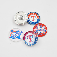 Newest 4 Styles Texas Rangers Baseball Team Glass Snap Button Fit For 18mm DIY Snap Jewelry (Mixed 50pcs or Single 20pcs)
