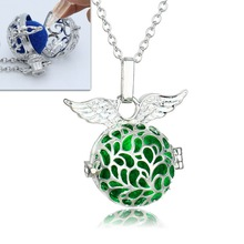 Silver Hollow Angel Aromatherapy Locket Necklaces For Women Perfume Fragrance Essential Oil Diffuser Necklace Jewelry