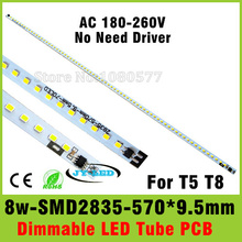 AC 220v Directly 8W T5 T8 LED Tube PCB Aluminum Plate Driverless with SMD2835 Epistar Chip Cold White/Warm White(China)