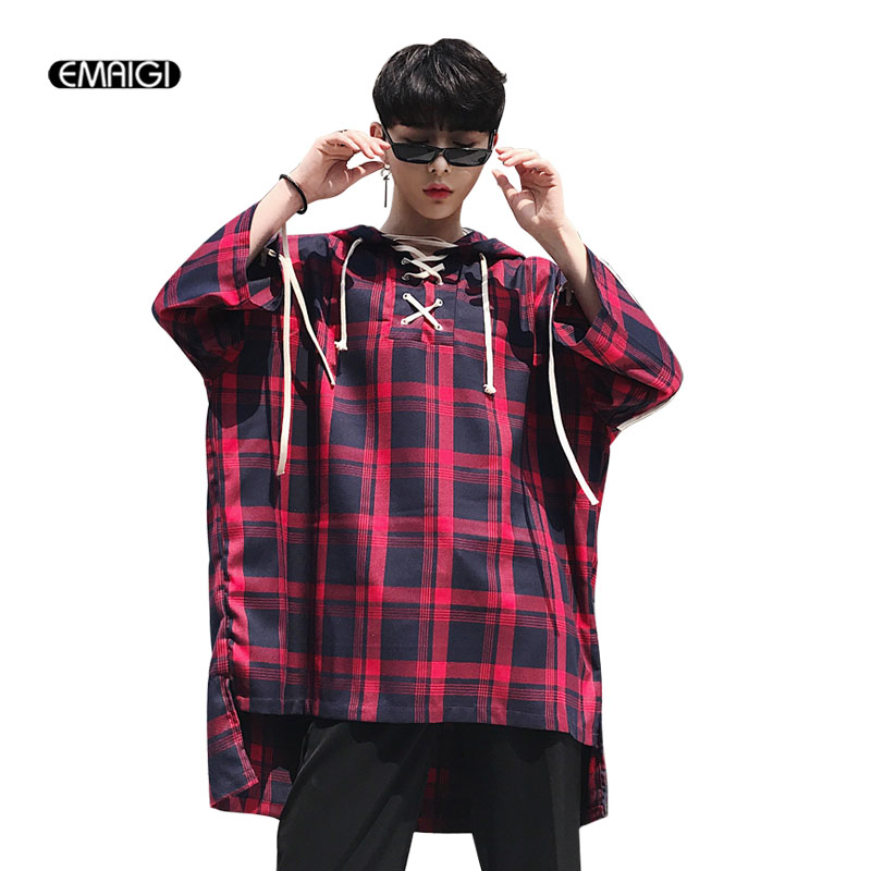 Men Plaid Pullover Hooded Shirt Male High Street Fashion Oversize Style Hip Hop Loose Half Sleeve Casual Shirt